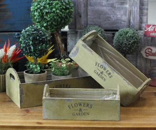 Nowe 3x Doniczki Skrzynki Drewniane Na Kwiaty Prowansja Oliwkowa Zieleń